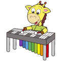 Cartoon giraffe playing a vibraphone Stock Photo
