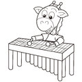 Cartoon giraffe playing vibraphone black white Stock Photography