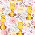 Cartoon giraffe vector illustration with with flowers seamless pattern Stock Image