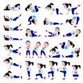 Cartoon girl in blue suit doing fitness exercises isolated on wh