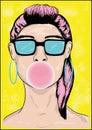 Cartoon girl with bubble gum