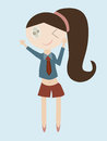 Cartoon of girl bye hand vector illustration Royalty Free Stock Photography