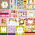 Cartoon girl card Stock Photo