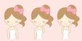 Cartoon girl care her face