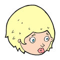 Cartoon girl with concerned expression hand drawn illustration in retro style vector available Stock Photo