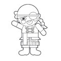Cartoon girl doll coloring page illustration for the children beautiful Stock Images