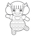 Cartoon girl doll coloring page illustration for the children beautiful Stock Photos