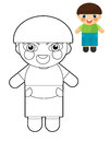 Cartoon girl doll coloring page with preview for children beautiful colloring Stock Photos