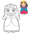 Cartoon girl doll coloring page with preview for children beautiful colloring Royalty Free Stock Photos