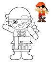 Cartoon girl doll coloring page with preview for children beautiful colloring Stock Images