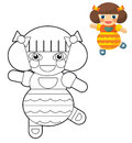 Cartoon girl doll coloring page with preview for children beautiful colloring Royalty Free Stock Images