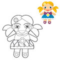 Cartoon girl doll coloring page with preview for children beautiful colloring Royalty Free Stock Image