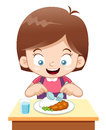Cartoon Girl eating Stock Photos