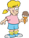 Cartoon girl eating an ice cream cone illustration of a Royalty Free Stock Photos