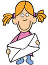 Cartoon girl with envelope Stock Image