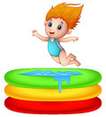 Cartoon girl jumping an inflatable pool Royalty Free Stock Photo