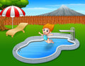 Cartoon girl jumping in swimming pool