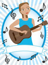 Cartoon girl playing acoustic guitar musical notes Royalty Free Stock Photos