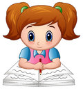 Cartoon girl reading a book