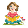 Cartoon girl reading book Royalty Free Stock Photo