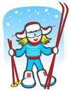 Cartoon girl with skis Royalty Free Stock Image