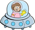 Cartoon girl in a spaceship illustration of Royalty Free Stock Image