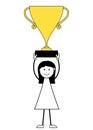 Cartoon girl stick figure holding golden trophy
