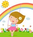 Cartoon girl swinging Royalty Free Stock Photography