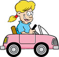 Cartoon girl in a toy car Royalty Free Stock Photo