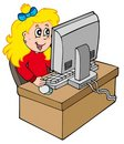 Cartoon girl working with computer Stock Photo