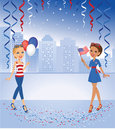 Cartoon Girls celebrating in Red and Blue Colors Royalty Free Stock Image