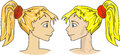 Cartoon girls faces illustration of two twins close up Royalty Free Stock Photos