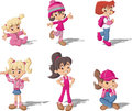 Cartoon girls. Royalty Free Stock Photo