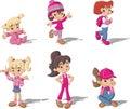 Cartoon girls. Royalty Free Stock Photo