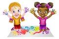Cartoon Girls Painting Royalty Free Stock Photo