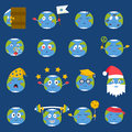 Cartoon globe emotion icons smile happy nature character expression vector illustration avatar