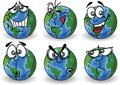 Cartoon globe with emotions illustration picture Stock Image