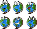 Cartoon Globe with emotions,vector  Stock Photography