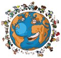 Cartoon globe trotters illustration of the earth with Stock Photos