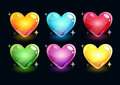 Cartoon glossy hearts set Royalty Free Stock Photo
