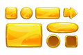 Cartoon golden game assets metalic gui isolated on white Royalty Free Stock Images