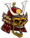 Cartoon golden skull in japanese samurai helmet Royalty Free Stock Photo