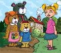 Cartoon of Goldilockes Stock Photos