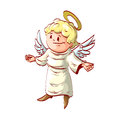 Cartoon good angel with welcoming hands Royalty Free Stock Photo
