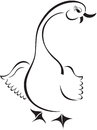 Cartoon goose emblem black and white style Royalty Free Stock Photo