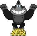 Cartoon gorilla bananas a illustration of a on a pile of Royalty Free Stock Photos
