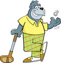 Cartoon gorilla golfer illustration of a with a golf club and golf ball Stock Image