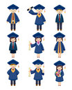Cartoon Graduate students icons set Stock Photos