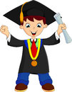 Cartoon graduation happy boy get that college degree Royalty Free Stock Photography