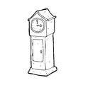 Cartoon grandfather clock black and white line in retro style vector available Stock Images